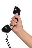 Hand Holding Vintage Telephone Stock Photo