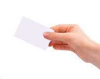 Hand holding visiting card. Isolated on white background royalty free stock photo