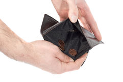 Hand holding a wallet almost empty, with a few coins, isolated on white Royalty Free Stock Photo