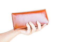Hand holding wallet women Royalty Free Stock Photography