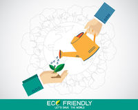 Hand holding a water can and watering the plant vector illustration
