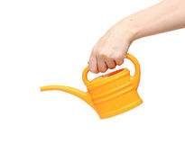 Hand holding watering can Stock Image