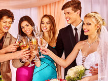 Hand holding wedding glass Stock Images