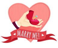 Hand holding wedding ring in a box. Heart shape frame. Flat styl Royalty Free Stock Image