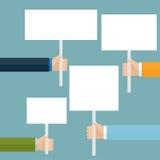 Hand holding white blank banner Stock Image
