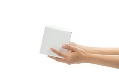 Hand holding white box. (transportation concept) Stock Image