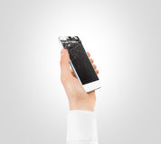 Hand holding white broken phone smashed touch screen, cipping path Stock Photos