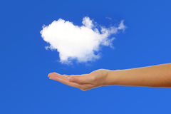 Hand holding a white cloud Stock Photography