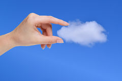 Hand holding a white cloud, concept for cloud computing Royalty Free Stock Photo