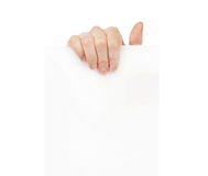 Hand holding white empty paper Royalty Free Stock Photography
