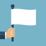Hand holding white flag. Hand holding a white flag. Vector illustration of a flat design. Symbol give up. Surrendering concept. Message truce stock illustration