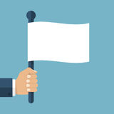 Hand holding white flag. Hand holding a white flag. Vector illustration of a flat design. Symbol give up.  Surrendering concept. Message truce Stock Photo