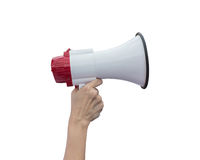 Hand holding white megaphone isolated on white. Saved with clipp Royalty Free Stock Images