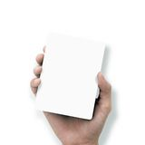 Hand holding white paper Royalty Free Stock Photos
