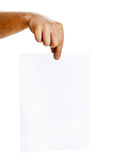 Hand holding white sheet of paper Stock Photo