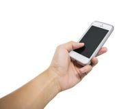 Hand Holding White Smart Phone Isolated Royalty Free Stock Photo