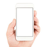 Hand holding white smartphone Stock Photos