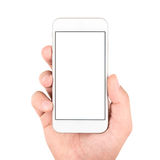 Hand holding white smartphone Royalty Free Stock Photo