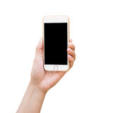 Hand holding White Smartphone with blank screen Stock Photography