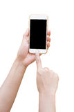 Hand holding White Smartphone with blank screen Stock Image