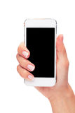 Hand holding White Smartphone with blank screen on white backgro Royalty Free Stock Image