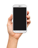 Hand holding White Smartphone with blank screen on white Royalty Free Stock Image