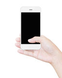 Hand holding white smartphone clipping screen display isolated Royalty Free Stock Photos