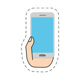 Hand holding white smartphone-cut line Royalty Free Stock Images