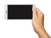 Hand holding White Smartphone in horizontal on white Stock Photography