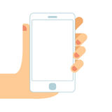Hand holding white smartphone. Touching blank white screen. Flat design concept vector illustration. Hand holding white smartphone, touching blank white screen Royalty Free Stock Images