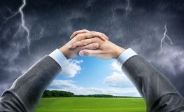 Hand holding window with blue sky Stock Photography