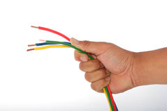 Hand holding a wire Royalty Free Stock Photography