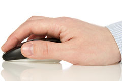 Hand holding  wireless computer mouse Royalty Free Stock Photos