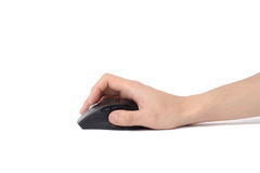 Hand holding wireless mouse Royalty Free Stock Image