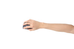 Hand holding wireless mouse Royalty Free Stock Photo