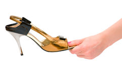 Hand holding woman shoe Stock Photography