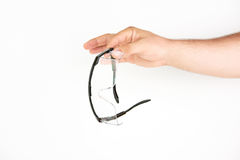 Hand Holding Work Protection Glasses Royalty Free Stock Photo