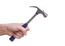 Hand holding working hammer. Isolated hand holding working hammer Royalty Free Stock Photos