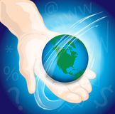 Hand holding the world Stock Images