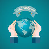 The hand holding the world on blue background vector illustration Stock Images