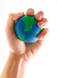 Hand holding world globe Royalty Free Stock Photography