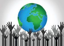 Hand Holding World and globe hands idea Royalty Free Stock Photo