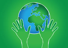 Hand Holding World and globe hands idea Royalty Free Stock Image