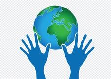 Hand Holding World and globe hands idea Royalty Free Stock Photos
