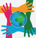 Hand Holding World and globe hands idea Stock Photography