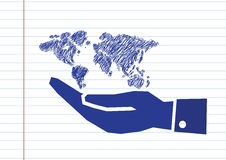 Hand holding world globe map Royalty Free Stock Images