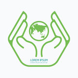 Hand holding world.logo design,safety care concept. Royalty Free Stock Images