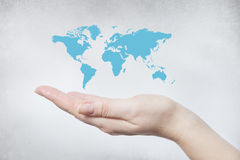 Hand holding world map Royalty Free Stock Photography