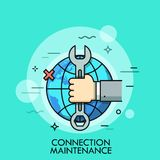 Hand holding wrench or spanner against globe and x cross sign on background. Concept of internet connection maintenance, technical problems solving. Vector Stock Photo