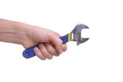 Hand holding wrench tool Royalty Free Stock Photos